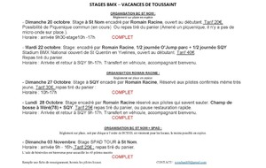 STAGE TOUSSAINT HORAIRE